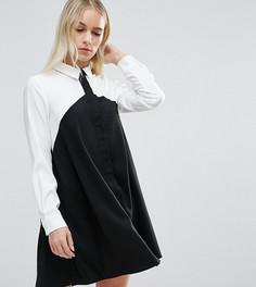 Платье-рубашка колор блок ASOS PETITE - Мульти