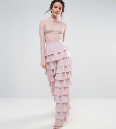 Комбинезон с кружевным топом с рюшами на брюках True Decadence Tall - Розовый