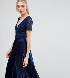 Платье миди для выпускного с кружевным топом и запахом True Decadence Tall - Темно-синий
