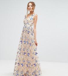 Платье макси с цветочной вышивкой True Decadence Tall - Мульти