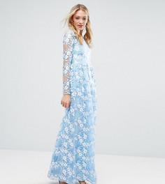 Платье макси с объемным премиум-кружевом True Decadence Tall - Синий