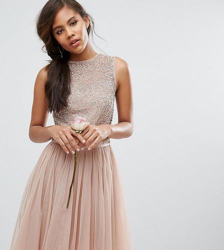 Платье миди без рукавов с пайетками и бантом сзади Maya Tall - Розовый