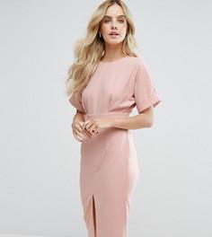 Строгое тканое платье с V-образным вырезом на спине и разрезом ASOS PETITE - Розовый