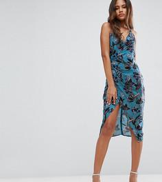 Платье миди с драпировкой, бретельками и цветочным принтом ASOS TALL - Мульти