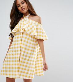 Платье в клетку с бретелью через шею ASOS TALL - Желтый