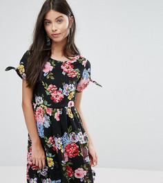 Короткое приталенное платье с бантами на рукавах и цветочным принтом Yumi Petite - Черный