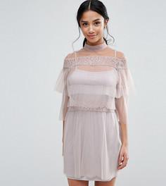 Плиссированное платье мини с кружевными вставками True Decadence Petite - Розовый