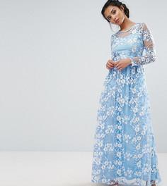 Премиум-платье макси с отделкой True Decadence Petite - Синий