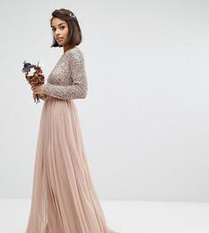 Платье макси из тюля с пайетками и длинными рукавами Maya Petite - Розовый