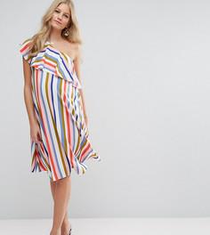 Полосатое платье мини на одно плечо с оборкой ASOS Maternity - Мульти
