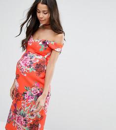 Платье с цветочным принтом и вырезом сердечком ASOS Maternity - Красный