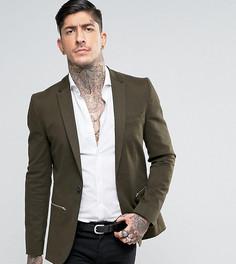 Пиджак супероблегающего кроя с молнией Religion - Зеленый