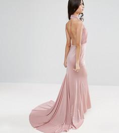 Платье макси с открытой спиной City Goddess Petite - Розовый