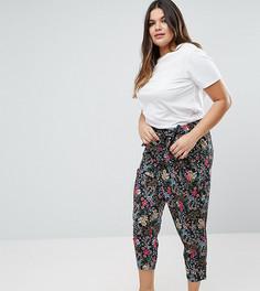 Черные брюки с цветочным принтом и завязкой ASOS CURVE - Мульти