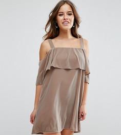 Двухслойное бархатное платье мини с открытыми плечами ASOS PETITE - Бежевый