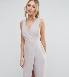 Платье миди с V-образным вырезом и запахом Closet - Серый