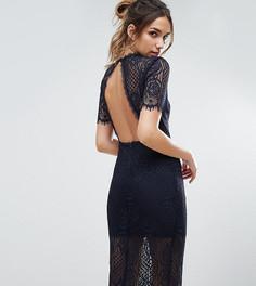 Кружевное платье миди с открытой спиной Love Triangle - Черный