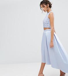 Асимметричная атласная юбка с вышивкой Maya - Синий