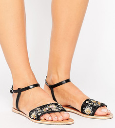 Кожаные сандалии для широкой стопы с декоративной отделкой ASOS FIZZY -  Черный 46413ff770849