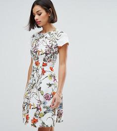 Короткое приталенное платье со складками на горловине Uttam Boutique Petite - Кремовый