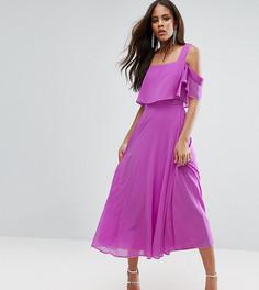 Платье миди с открытыми плечами и рукавами клеш ASOS TALL - Фиолетовый