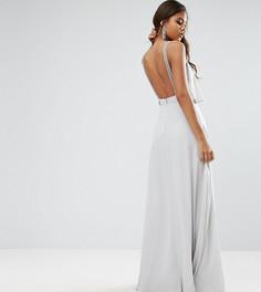 Платье макси с топом-накладкой и отделкой ASOS TALL - Серый