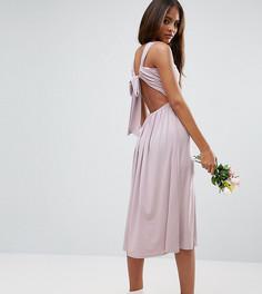 Платье миди с V-образным вырезом и сборками ASOS TALL - Фиолетовый