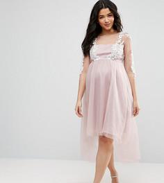 Сетчатое платье с вышивкой и асимметричным подолом Chi Chi London Maternity - Серый