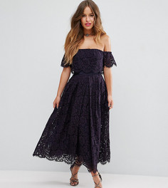 Кружевное платье миди для выпускного с открытыми плечами ASOS PETITE - Темно-синий