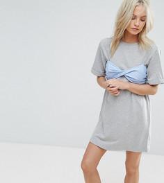 Платье-футболка с контрастным бюстгальтером в полоску ASOS PETITE - Серый