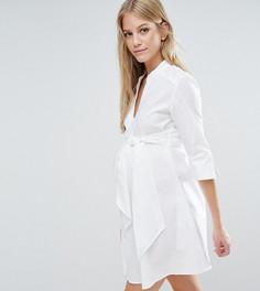 Удлиненное платье‑рубашка с завязкой на талии Isabella Oliver - Белый