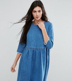 Синее выбеленное джинсовое свободное платье ASOS TALL - Синий