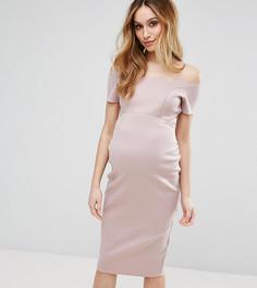 Платье-футляр миди со спущенными плечами и фигурным краем ASOS Maternity - Розовый