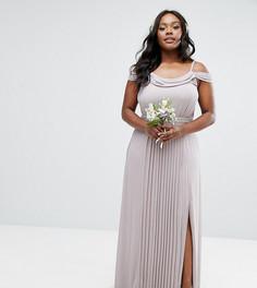 Платье макси с открытыми плечами и отделкой TFNC Plus Wedding - Серый