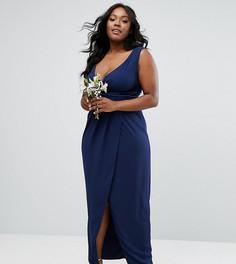 Платье макси с запахом спереди TFNC Plus Wedding - Темно-синий