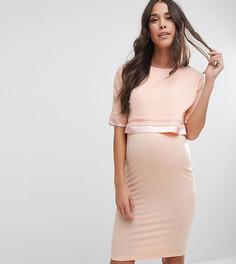 Двухслойное платье с атласной отделкой ASOS Maternity NURSING - Розовый