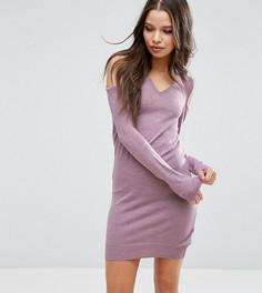 Платье-джемпер с V-образным вырезом и открытыми плечами ASOS PETITE - Фиолетовый