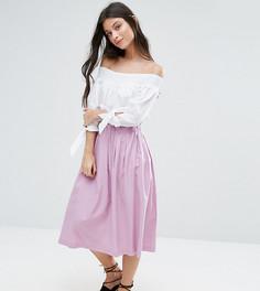 Льняная юбка для выпускного ASOS PETITE - Фиолетовый