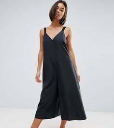 Oversize-комбинезон с юбкой-брюками ASOS PETITE - Черный