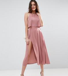 Платье миди с кроп‑топом, запахом и разрезом ASOS TALL - Розовый