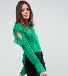 Блузка с рюшами на рукавах и завязкой ASOS TALL - Зеленый