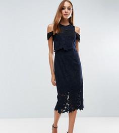 Платье миди с кроп-топом и вырезами на плечах ASOS TALL - Темно-синий
