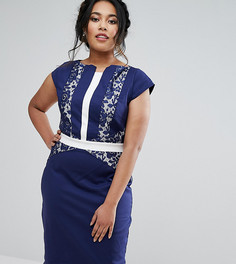 Платье-футляр с кружевом в стиле колор блок Paper Dolls Plus - Темно-синий