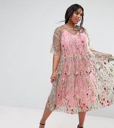 Свободное платье миди с вышивкой ASOS CURVE SALON - Мульти