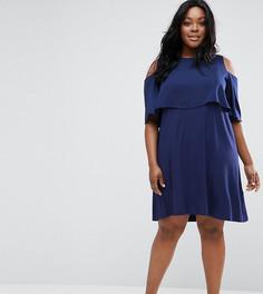 Приталенное платье с вырезами на плечах ASOS CURVE - Синий