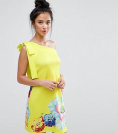 Платье мини на одно плечо с цветочным принтом ASOS PETITE - Зеленый