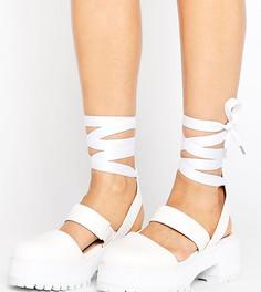 Туфли для широкой стопы на массивной подошве ASOS OBLONG - Белый