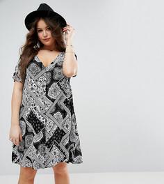 Чайное платье в стиле пэчворк с принтом пейсли Alice & You - Черный