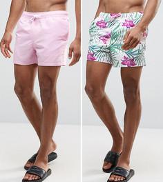 2 коротких шортов для плавания (розовые и с цветочным принтом) ASOS - СКИДКА - Мульти
