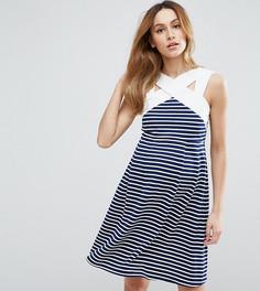 Короткое приталенное платье в полоску с контрастной горловиной ASOS Maternity - Мульти